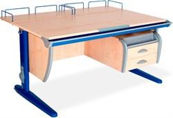 Парта ДЭМИ СУТ-15-04 120х55 см + 2 задние приставки и подвесная тумба (Цвет столешницы:Клен, Цвет ножек стола:Синий) - фото 18905