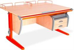 Парта ДЭМИ СУТ-15-04 120х55 см + 2 задние приставки и подвесная тумба (Цвет столешницы:Клен, Цвет ножек стола:Оранжевый) - фото 18914