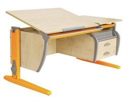 Парта ДЭМИ СУТ-17-04 120х80 см + подвесная тумба + 2 задних приставки (Цвет столешницы:Клен, Цвет ножек стола:Оранжевый) - фото 19312