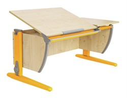 Парта ДЭМИ 120Х55 см с раздельной столешницей (СУТ-17) (Цвет столешницы:Клен, Цвет ножек стола:Оранжевый) - фото 19467