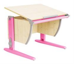 Парта ДЭМИ (Деми) СУТ 14-01Д (парта 75 см+задняя двухъярусная приставка) (Цвет столешницы:Клен, Цвет ножек стола:Розовый) - фото 19676