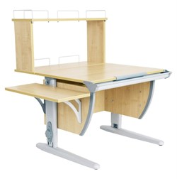 Парта ДЭМИ (Деми) СУТ 14-02Д (парта 75 см+задняя двухъярусная приставка+боковая приставка) (Цвет столешницы:Клен, Цвет ножек стола:Серый) - фото 19684