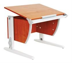 Парта ДЭМИ (Деми) СУТ 14-02Д (парта 75 см+задняя двухъярусная приставка+боковая приставка) (Цвет столешницы:Яблоня, Цвет ножек стола:Серый) - фото 19707