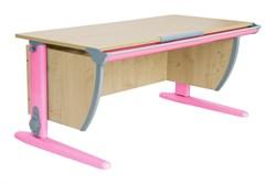 Парта ДЭМИ (Деми) СУТ 15К (парта 120 см+боковая приставка) (Цвет столешницы:Клен, Цвет ножек стола:Розовый) - фото 19755