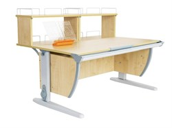 Парта ДЭМИ (Деми) СУТ 15-01Д2 (парта 120 см+две двухъярусные задние приставки) (Цвет столешницы:Клен, Цвет ножек стола:Серый) - фото 19835