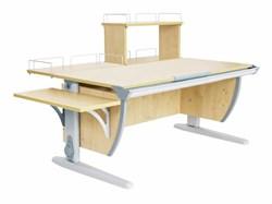 Парта ДЭМИ (Деми) СУТ 15-02Д (парта 120 см+задняя приставка+двухъярусная задняя приставка+боковая приставка) (Цвет столешницы:Клен, Цвет ножек стола:Серый) - фото 19897