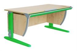 Парта ДЭМИ (Деми) СУТ 15-02Д (парта 120 см+задняя приставка+двухъярусная задняя приставка+боковая приставка) (Цвет столешницы:Клен, Цвет ножек стола:Зеленый) - фото 19914