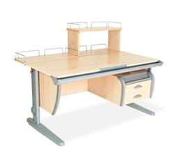 Парта ДЭМИ (Деми) СУТ 15-04Д (парта 120 см+задняя приставка+двухъярусная задняя приставка+подвесная тумба) (Цвет столешницы:Клен, Цвет ножек стола:Серый) - фото 20083