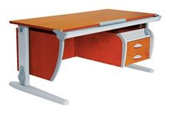Парта ДЭМИ (Деми) СУТ 15-04Д (парта 120 см+задняя приставка+двухъярусная задняя приставка+подвесная тумба) (Цвет столешницы:Яблоня, Цвет ножек стола:Серый) - фото 20136