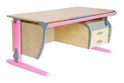 Парта ДЭМИ (Деми) СУТ 15-05Д (парта 120 см+задняя приставка+двухъярусная задняя приставка+боковая приставка+подвесная тумба) (Цвет столешницы:Клен, Цвет ножек стола:Розовый) - фото 20251