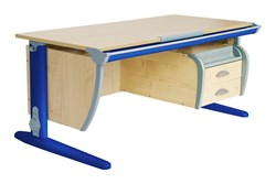 Парта ДЭМИ (Деми) СУТ 15-05Д2 (парта 120 см+две двухъярусные задние приставки+боковая приставка+подвесная тумба) (Цвет столешницы:Клен, Цвет ножек стола:Синий) - фото 20277