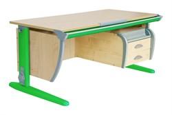 Парта ДЭМИ (Деми) СУТ 15-05Д2 (парта 120 см+две двухъярусные задние приставки+боковая приставка+подвесная тумба) (Цвет столешницы:Клен, Цвет ножек стола:Зеленый) - фото 20286