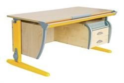 Парта ДЭМИ (Деми) СУТ 15-05Д2 (парта 120 см+две двухъярусные задние приставки+боковая приставка+подвесная тумба) (Цвет столешницы:Клен, Цвет ножек стола:Оранжевый) - фото 20304