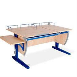 Парта ДЭМИ (Деми) СУТ 17-02 (парта 120 см+две задние приставки+боковая приставка) (Цвет столешницы:Клен, Цвет ножек стола:Синий) - фото 20339