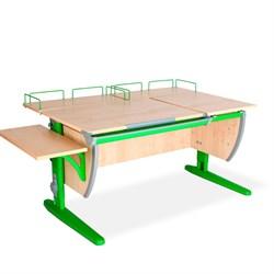 Парта ДЭМИ (Деми) СУТ 17-02 (парта 120 см+две задние приставки+боковая приставка) (Цвет столешницы:Клен, Цвет ножек стола:Зеленый) - фото 20347