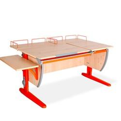 Парта ДЭМИ (Деми) СУТ 17-02 (парта 120 см+две задние приставки+боковая приставка) (Цвет столешницы:Клен, Цвет ножек стола:Оранжевый) - фото 20363