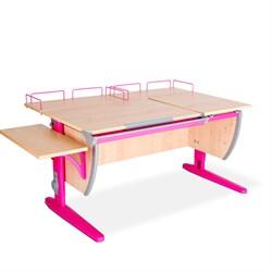 Парта ДЭМИ (Деми) СУТ 17-02 (парта 120 см+две задние приставки+боковая приставка) (Цвет столешницы:Клен, Цвет ножек стола:Розовый) - фото 20371