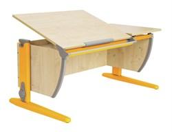 Парта ДЭМИ (Деми) СУТ 17-01Д (парта 120 см+задняя приставка+двухъярусная задняя приставка) (Цвет столешницы:Клен, Цвет ножек стола:Оранжевый) - фото 20430