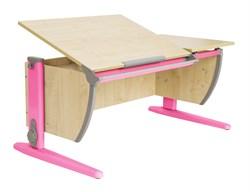 Парта ДЭМИ (Деми) СУТ 17-01Д (парта 120 см+задняя приставка+двухъярусная задняя приставка) (Цвет столешницы:Клен, Цвет ножек стола:Розовый) - фото 20441