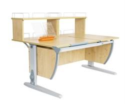 Парта ДЭМИ (Деми) СУТ 17-01Д2 (парта 120 см+две задние двухъярусные приставки) (Цвет столешницы:Клен, Цвет ножек стола:Серый) - фото 20463