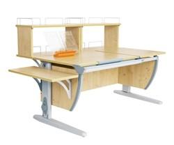 Парта ДЭМИ (Деми) СУТ 17-02Д2 (парта 120 см+две задние двухъярусные приставки+боковая приставка) (Цвет столешницы:Клен, Цвет ножек стола:Серый) - фото 20525