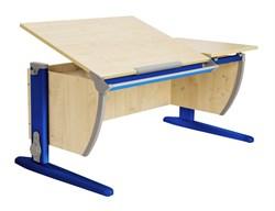 Парта ДЭМИ (Деми) СУТ 17-02Д2 (парта 120 см+две задние двухъярусные приставки+боковая приставка) (Цвет столешницы:Клен, Цвет ножек стола:Синий) - фото 20534