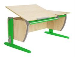 Парта ДЭМИ (Деми) СУТ 17-02Д2 (парта 120 см+две задние двухъярусные приставки+боковая приставка) (Цвет столешницы:Клен, Цвет ножек стола:Зеленый) - фото 20544