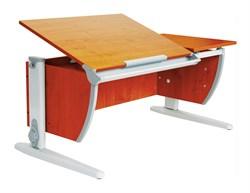 Парта ДЭМИ (Деми) СУТ 17-02Д2 (парта 120 см+две задние двухъярусные приставки+боковая приставка) (Цвет столешницы:Яблоня, Цвет ножек стола:Серый) - фото 20584