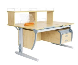 Парта ДЭМИ (Деми) СУТ 17-04Д2 (парта 120 см+две задние двухъярусные приставки+подвесная тумба) (Цвет столешницы:Клен, Цвет ножек стола:Серый) - фото 20746