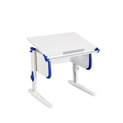 Парта трансформер ДЭМИ для дома WHITE СТАНДАРТ СУТ 24 (Цвет столешницы:Белый, Цвет боковин:Синий, Цвет ножек стола:Белый) - фото 21494
