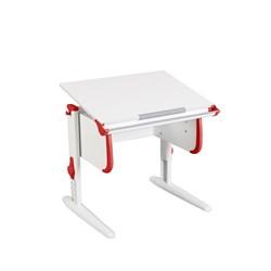 Парта трансформер ДЭМИ для дома WHITE СТАНДАРТ СУТ 24 (Цвет столешницы:Белый, Цвет боковин:Красный, Цвет ножек стола:Белый) - фото 21505