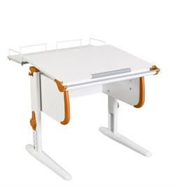 Парта ДЭМИ WHITE СТАНДАРТ СУТ-24-01 с задней приставкой (Цвет столешницы:Белый, Цвет боковин:Оранжевый, Цвет ножек стола:Белый) - фото 21528