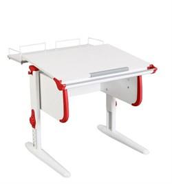 Парта ДЭМИ WHITE СТАНДАРТ СУТ-24-01 с задней приставкой (Цвет столешницы:Белый, Цвет боковин:Красный, Цвет ножек стола:Белый) - фото 21534