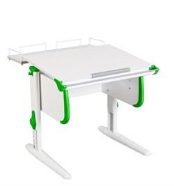 Парта ДЭМИ WHITE СТАНДАРТ СУТ-24-01 с задней приставкой (Цвет столешницы:Белый, Цвет боковин:Зеленый, Цвет ножек стола:Белый) - фото 21540