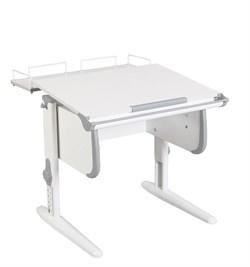 Парта ДЭМИ WHITE СТАНДАРТ СУТ-24-01 с задней приставкой (Цвет столешницы:Белый, Цвет боковин:Серый, Цвет ножек стола:Белый) - фото 21546