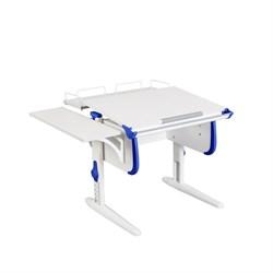 Парта ДЭМИ WHITE СТАНДАРТ СУТ-24-02 с задней и боковой приставкой (Цвет столешницы:Белый, Цвет боковин:Синий, Цвет ножек стола:Белый) - фото 21552