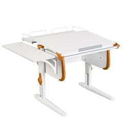 Парта ДЭМИ WHITE СТАНДАРТ СУТ-24-02 с задней и боковой приставкой (Цвет столешницы:Белый, Цвет боковин:Оранжевый, Цвет ножек стола:Белый) - фото 21557