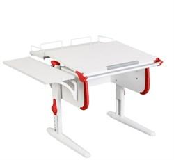 Парта ДЭМИ WHITE СТАНДАРТ СУТ-24-02 с задней и боковой приставкой (Цвет столешницы:Белый, Цвет боковин:Красный, Цвет ножек стола:Белый) - фото 21563