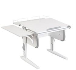 Парта ДЭМИ WHITE СТАНДАРТ СУТ-24-02 с задней и боковой приставкой (Цвет столешницы:Белый, Цвет боковин:Серый, Цвет ножек стола:Белый) - фото 21575