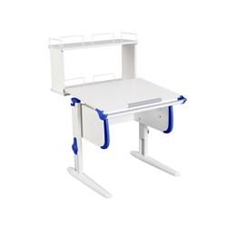 Парта ДЭМИ WHITE СТАНДАРТ СУТ-24-01Д с задней двухъярусной приставкой (Цвет столешницы:Белый, Цвет боковин:Синий, Цвет ножек стола:Белый) - фото 21581