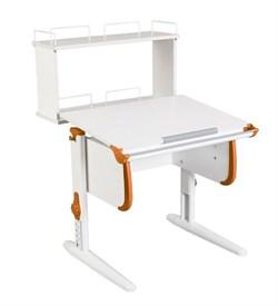 Парта ДЭМИ WHITE СТАНДАРТ СУТ-24-01Д с задней двухъярусной приставкой (Цвет столешницы:Белый, Цвет боковин:Оранжевый, Цвет ножек стола:Белый) - фото 21586