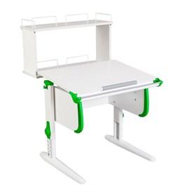 Парта ДЭМИ WHITE СТАНДАРТ СУТ-24-01Д с задней двухъярусной приставкой (Цвет столешницы:Белый, Цвет боковин:Зеленый, Цвет ножек стола:Белый) - фото 21598