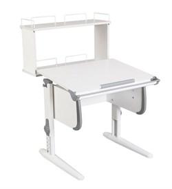 Парта ДЭМИ WHITE СТАНДАРТ СУТ-24-01Д с задней двухъярусной приставкой (Цвет столешницы:Белый, Цвет боковин:Серый, Цвет ножек стола:Белый) - фото 21604