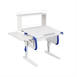 Парта ДЭМИ WHITE СТАНДАРТ СУТ-24-02Д с задней двухъярусной и боковой приставкой (Цвет столешницы:Белый, Цвет боковин:Синий, Цвет ножек стола:Белый) - фото 21610