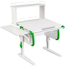 Парта ДЭМИ WHITE СТАНДАРТ СУТ-24-02Д с задней двухъярусной и боковой приставкой (Цвет столешницы:Белый, Цвет боковин:Зеленый, Цвет ножек стола:Белый) - фото 21627
