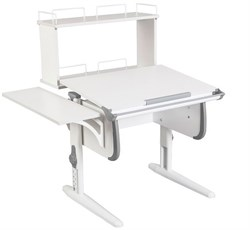 Парта ДЭМИ WHITE СТАНДАРТ СУТ-24-02Д с задней двухъярусной и боковой приставкой (Цвет столешницы:Белый, Цвет боковин:Серый, Цвет ножек стола:Белый) - фото 21633