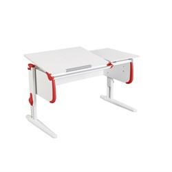 Парта для детей ДЭМИ СУТ-25 WHITE DOUBLE с раздельной столешницей (Цвет столешницы:Белый, Цвет боковин:Красный, Цвет ножек стола:Белый) - фото 21650