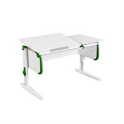 Парта для детей ДЭМИ СУТ-25 WHITE DOUBLE с раздельной столешницей (Цвет столешницы:Белый, Цвет боковин:Зеленый, Цвет ножек стола:Белый) - фото 21656