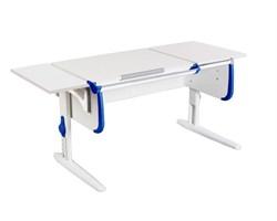 Парта ДЭМИ СУТ-25-01 К WHITE DOUBLE с раздельной столешницей и боковой приставкой (Цвет столешницы:Белый, Цвет боковин:Синий, Цвет ножек стола:Белый) - фото 21668