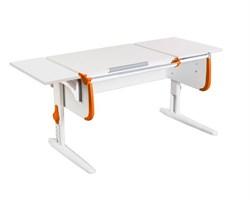 Парта ДЭМИ СУТ-25-01 К WHITE DOUBLE с раздельной столешницей и боковой приставкой (Цвет столешницы:Белый, Цвет боковин:Оранжевый, Цвет ножек стола:Белый) - фото 21673